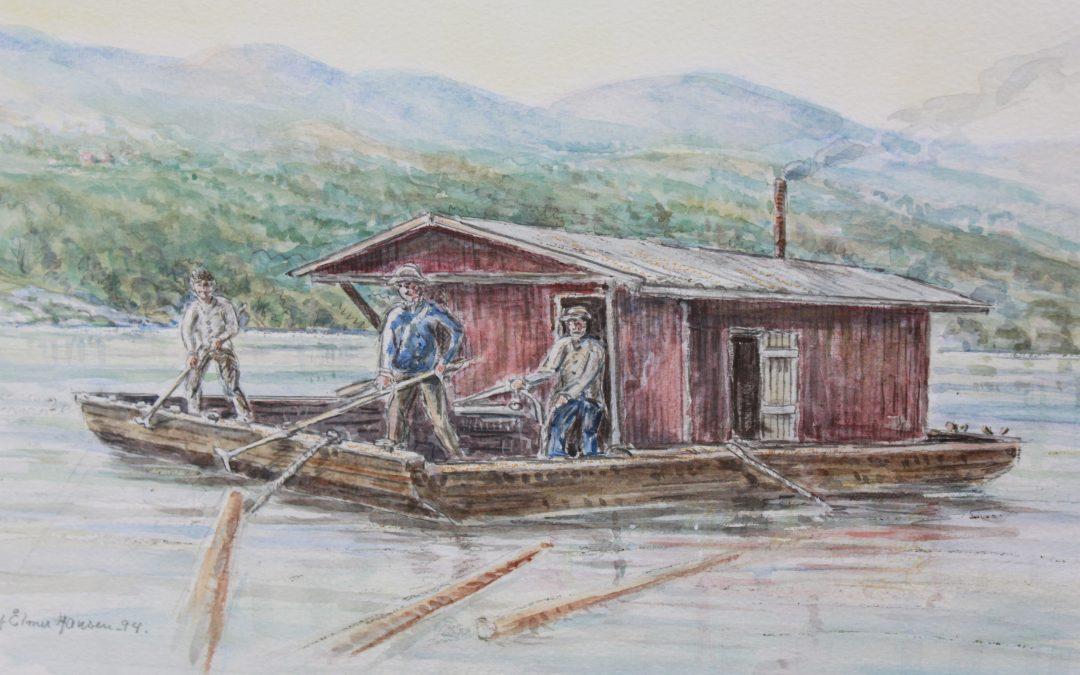 Tømmersleping på Vestfosselva